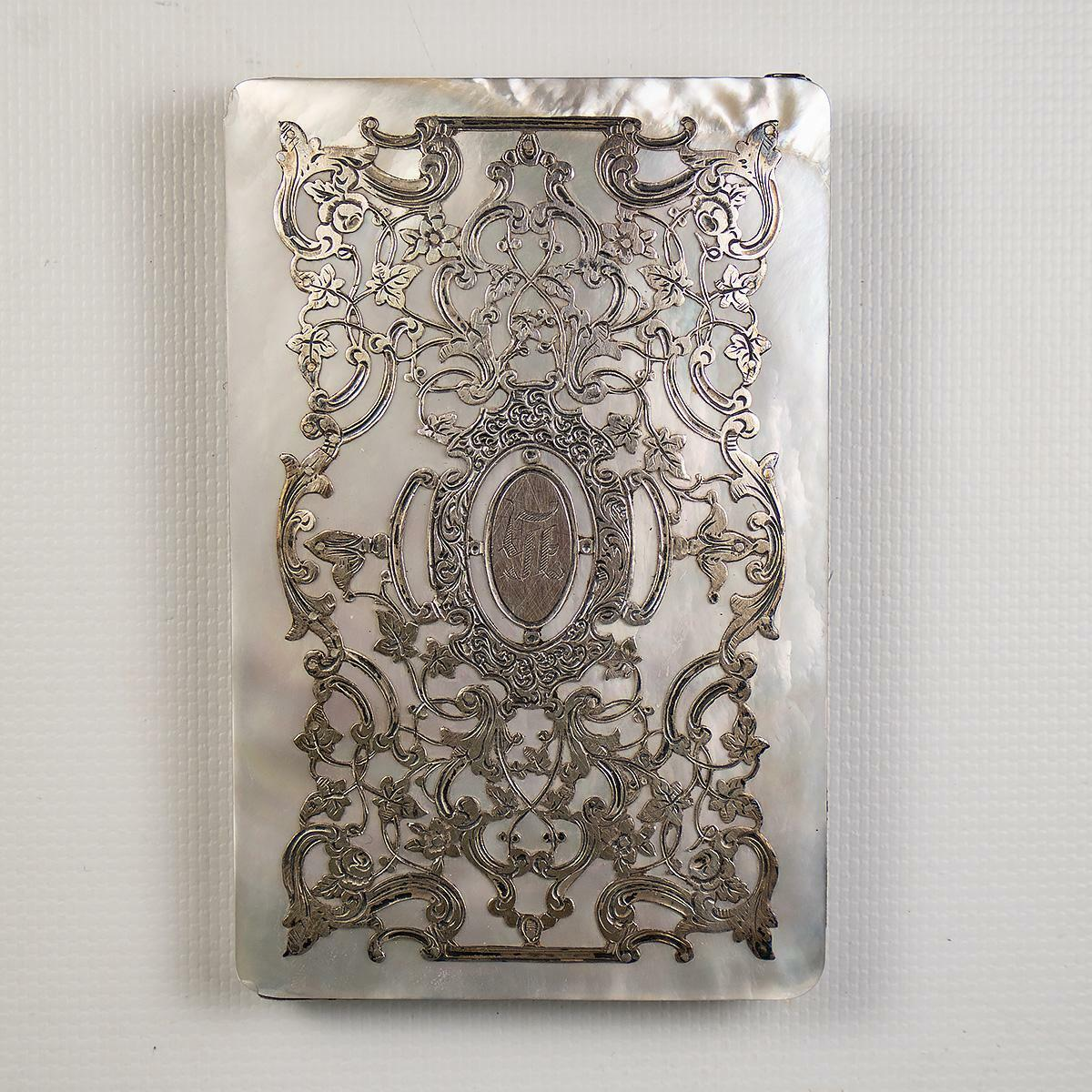 Antique French Mother of Pearl and Sterling Silver Calling Card Case Necessaire