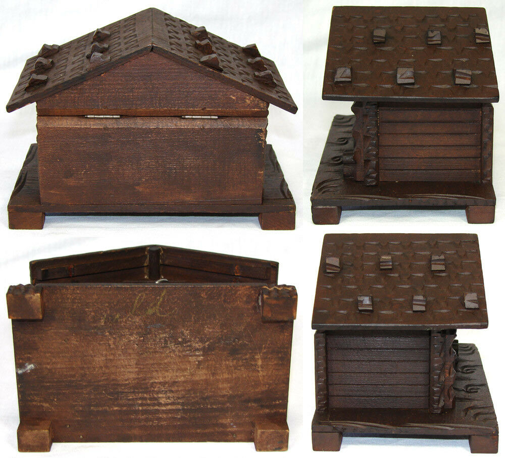 Charming Antique Carved Black Forest Jewelry Box, Casket - Cabin or House Shape