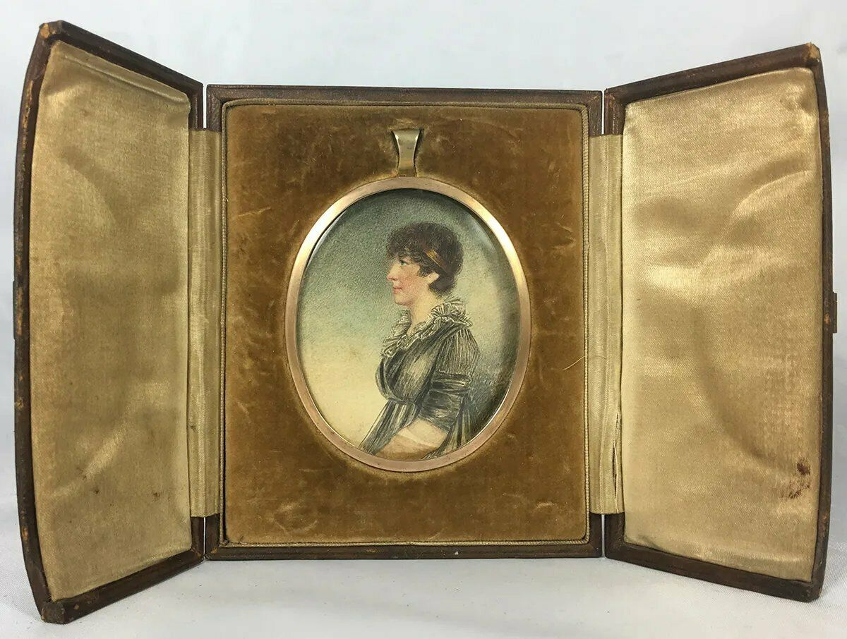 Antique Edwardian Portrait Miniature, Pastels, Pen and Ink Profile Lady in Frame