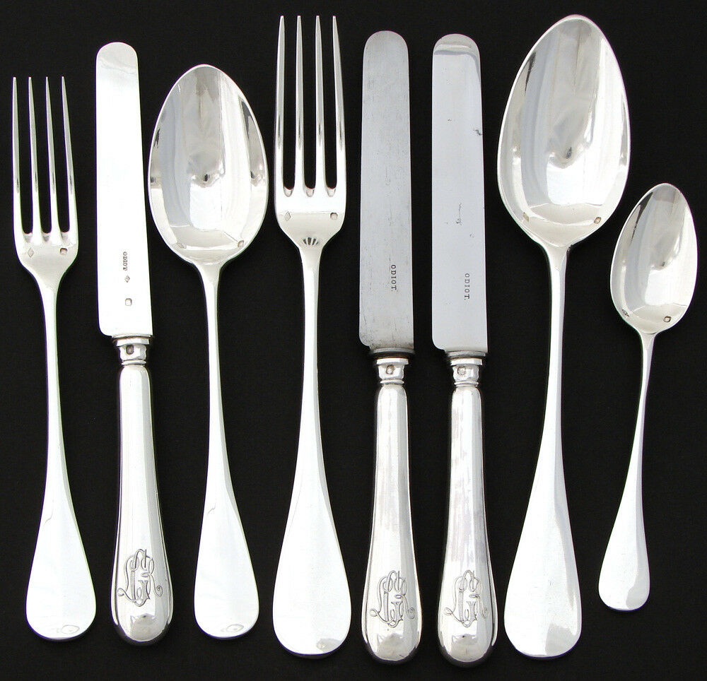 Complete 8pc Antique French ODIOT Sterling Silver Flatware Set, Original Box