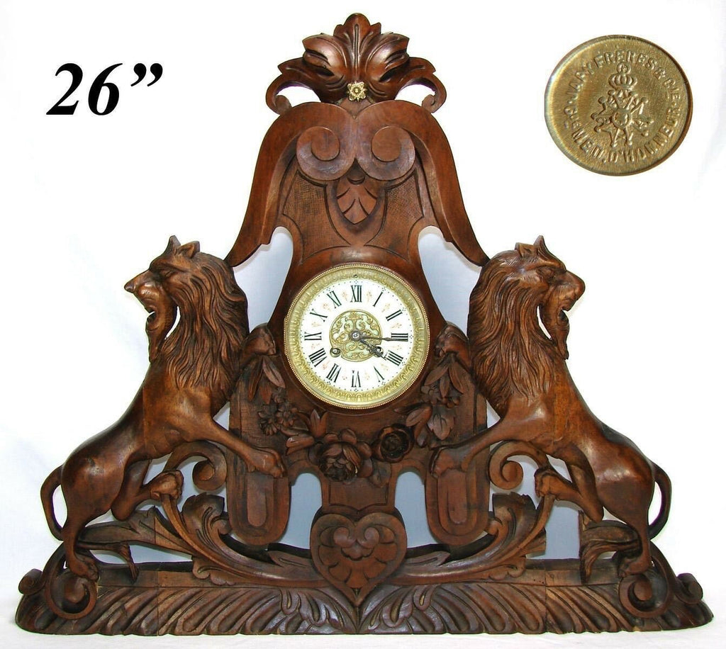 "HUGE Antique Victorian Era Carved 26"" Wide Mantel Clock, Lion Rampant Figural"