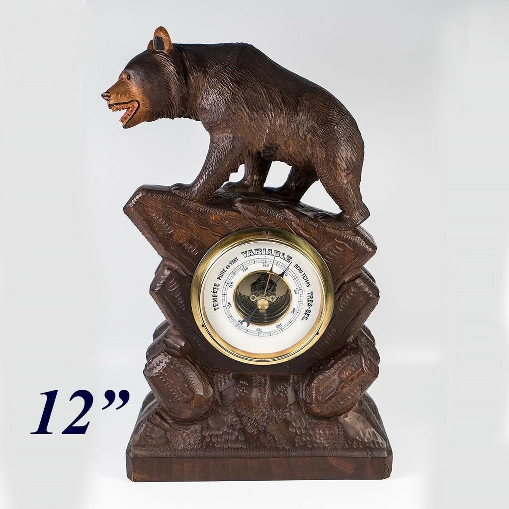 "Charming Antique to Vintage Hand Carved Black Forest Bear, 12"" Barometer Stand"