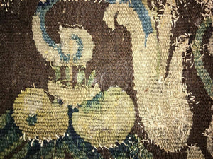 "Antique Verdure Flemish Tapestry Fragment for Throw Pillow, 11"" x 10"", c. 1600s"