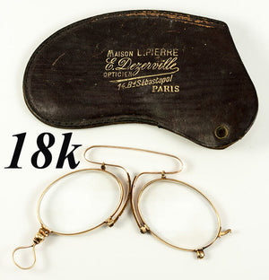 Antique 18k Gold, French Pince Nez Spectacles in Fine Condition, Hallmarks, Case