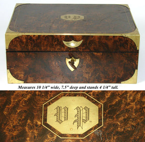 Museum Antique Napoleon Era Campaign Dressing Box, Rich Burl & Brass Inlay