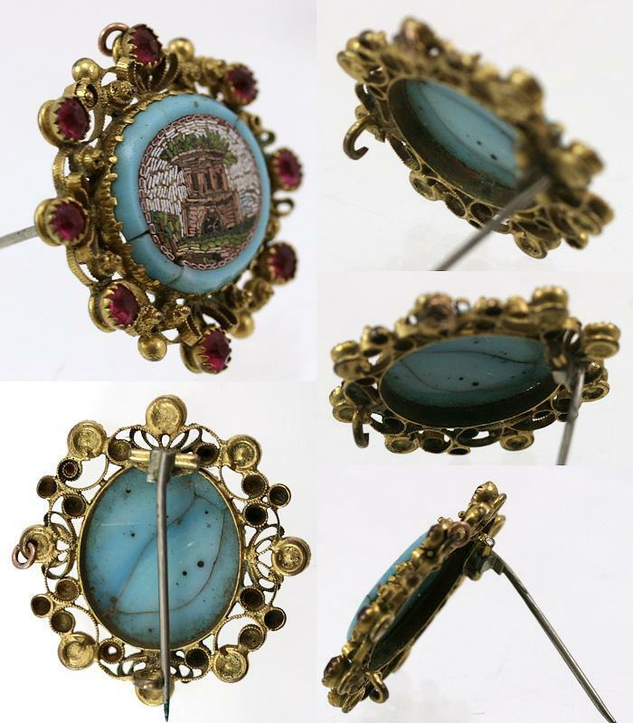Antique Georgian Era Micro Mosaic 18k Gold Cannetille Worked& Ruby Brooch, Architectural