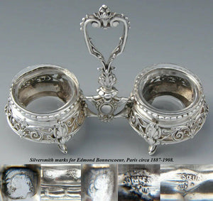 Antique French Sterling Silver Double Open Salt, Ornate Acanthus, Glass Inserts