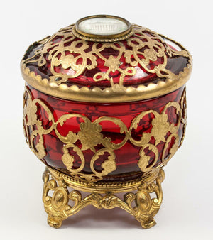 Antique French Cranberry Glass & Ormolu Powder Jar, Bonboniere, Eglomise, Paris