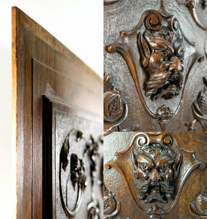 Pair (2) Carved Antique French Neo-Renaissance Cabinetry Panels, Figural, Doors