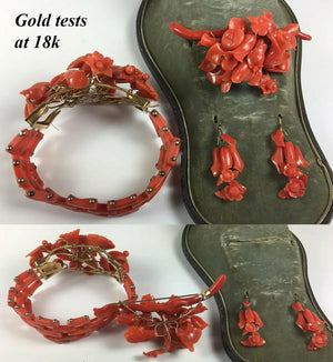 V RARE! Antique Victorian Red Coral Parure, in Box, 18k gold, Bracelet, Brooch +