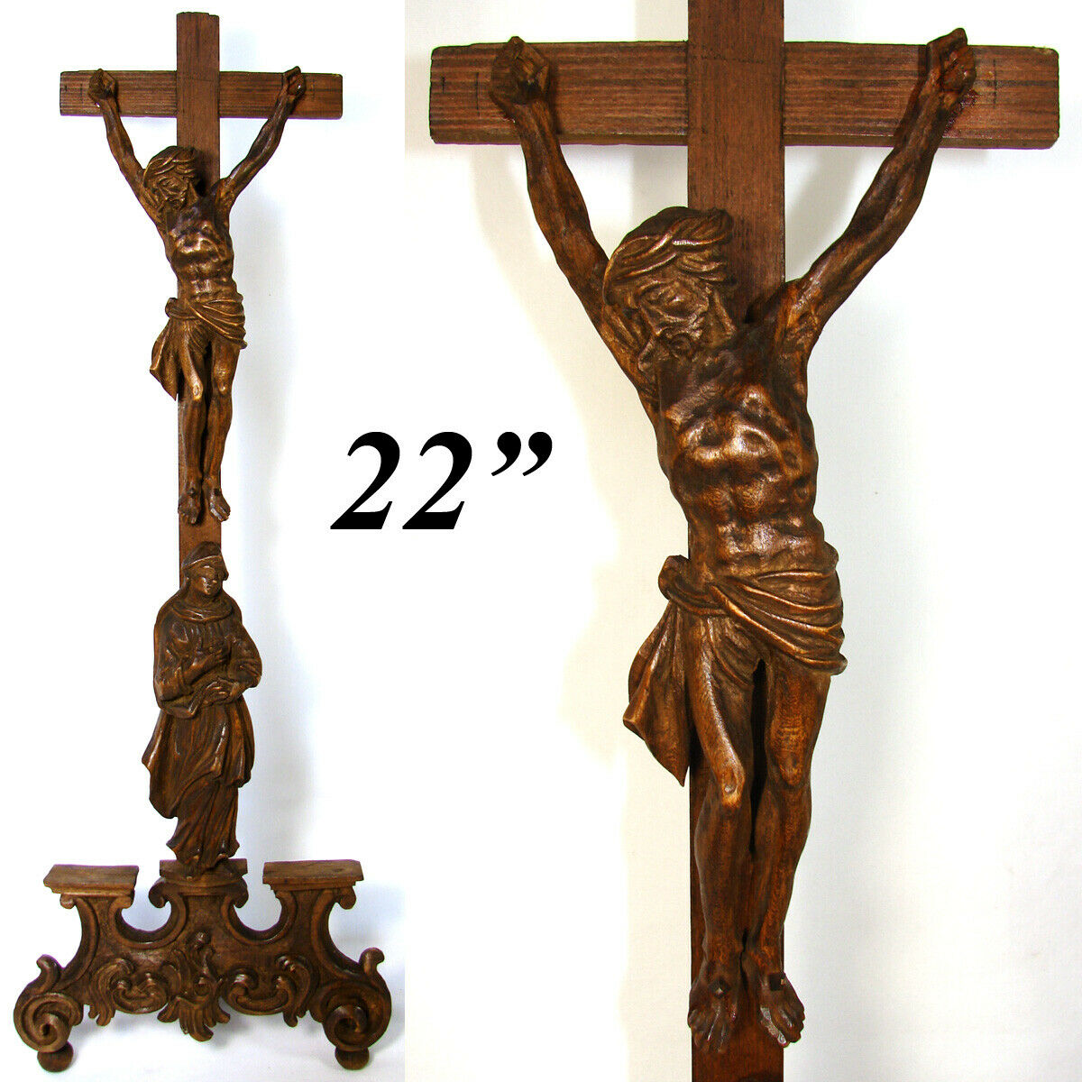"Antique 1800s French Carved Wood 22"" Crucifix, Cross with Christ & Mary Figures"