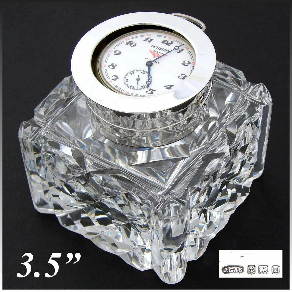 "Antique Brilliant Cut Crystal & Sterling Silver 3.5"" Inkwell, Pocket Watch Displ"