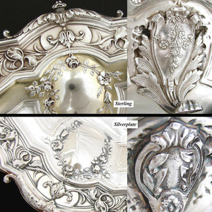 "PAIR:  Antique French Sterling Silver 9.5"" Serving Dish, Matching 9.5"" SP Dish"