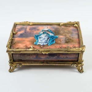 Rare Antique French Kiln-fired Enamel Jewelry box, Chocolatier's Signature