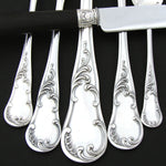 Antique French Sterling Silver 71pc Flatware Set, Louis XV or Rococo Pattern