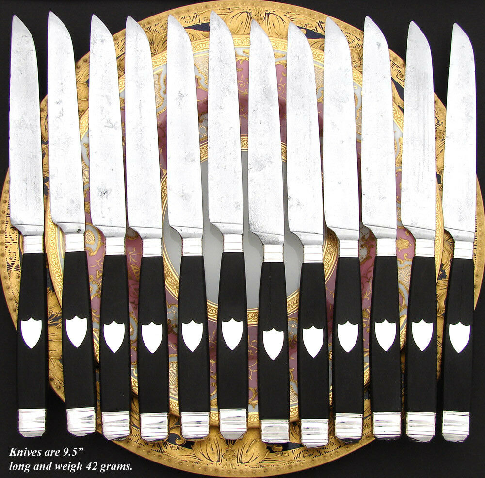 Antique French Sterling Silver & Ebony Handle 12pc Dinner Knife Set, 2pc Serving