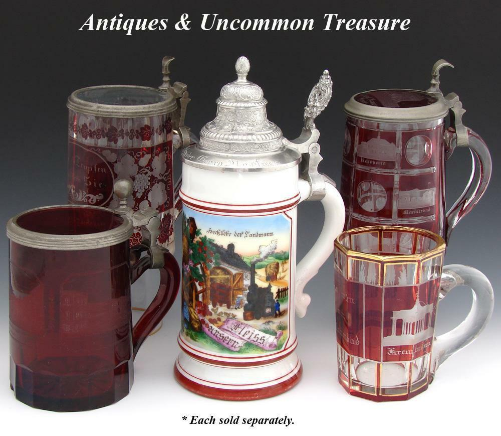 "Antique Bohemian Ruby Glass Spa Souvenir Mug or Stein, ""Andenken von Marienbad"""