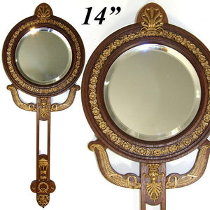"Antique French Empire Revival Style 14"" Hand or Vanity Mirror, Bronze, Mahoghany"