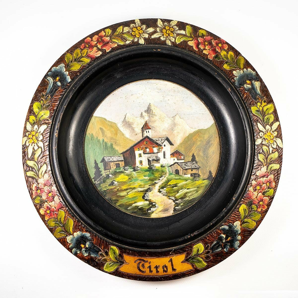 "Vintage-Antique Painted ""Tirol"" Black Forest Carved Plaque, Bread Plate, Tray"