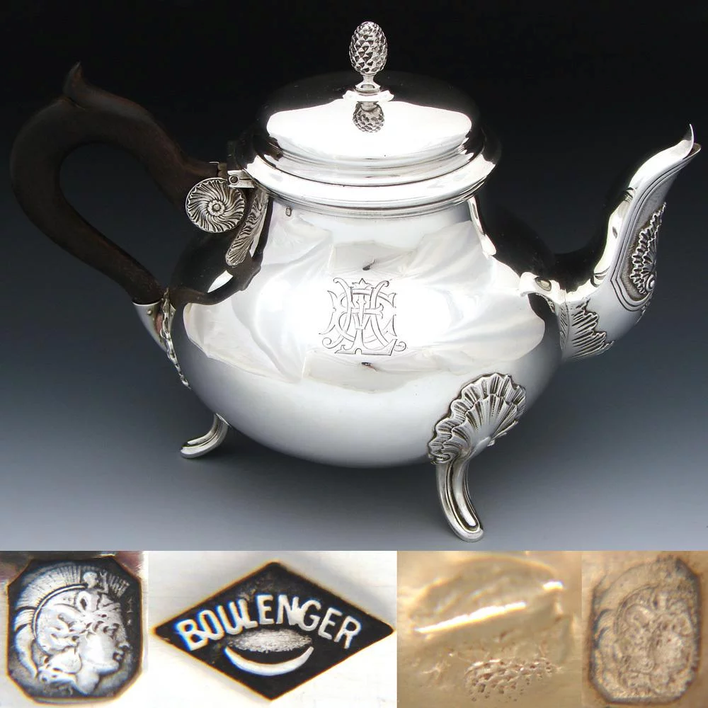 Elegant Antique French Sterling Silver Coffee or Tea Pot, Seashells, Aesthetic