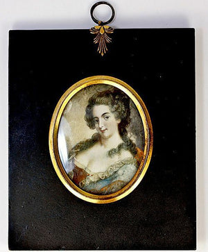 Antique French HP Miniature Portrait, Frame - 'Naughty' - 1700s  Mme de Genlis