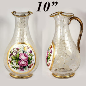 RARE Antique c. 1840-50 Bohemian Moser HP Full-Size Pitcher, Decanter, Floral