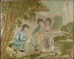 RARE Antique c.1816 French Silk Embroidery Needlework Sampler, Chenille, Empire