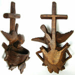 Antique Black Forest Carved Holy Water Font or Benitier, Cross & Bird with Nest