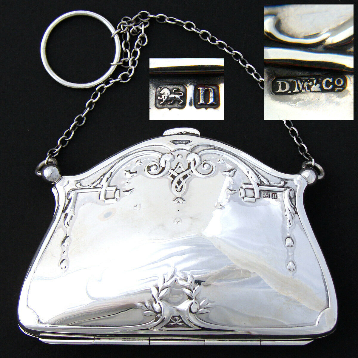 Antique English 1912 Hallmarked Sterling Silver Purse or Hand Bag, Finger Ring