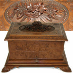 "Antique Hand Carved Black Forest 13"" Cigar Chest, Box, Server, 4 Trays, 32 Cigar"