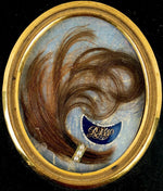 Antique French Hair Art Memento, Mourning Memorial, Pearls, 18k Gold, Napoleon 3