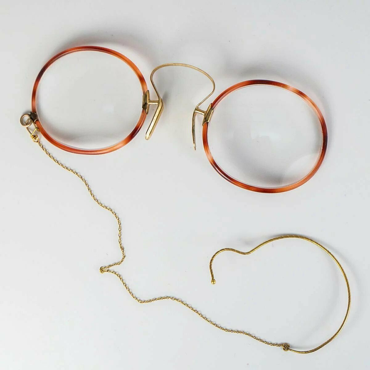 Antique 14k and 18k Gold Edwardian Spectacles, Pince-Nez with chain and Ear Hook