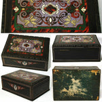 "Antique French Louis Philippe Era Boulle Inlay 9"" Desk Top, Work or Sewing Box"