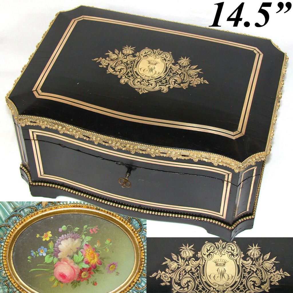 "LG Antique French 14.5"" Jewelry or Sewing Chest, Boulle, Crown Monogram, Tahan?"