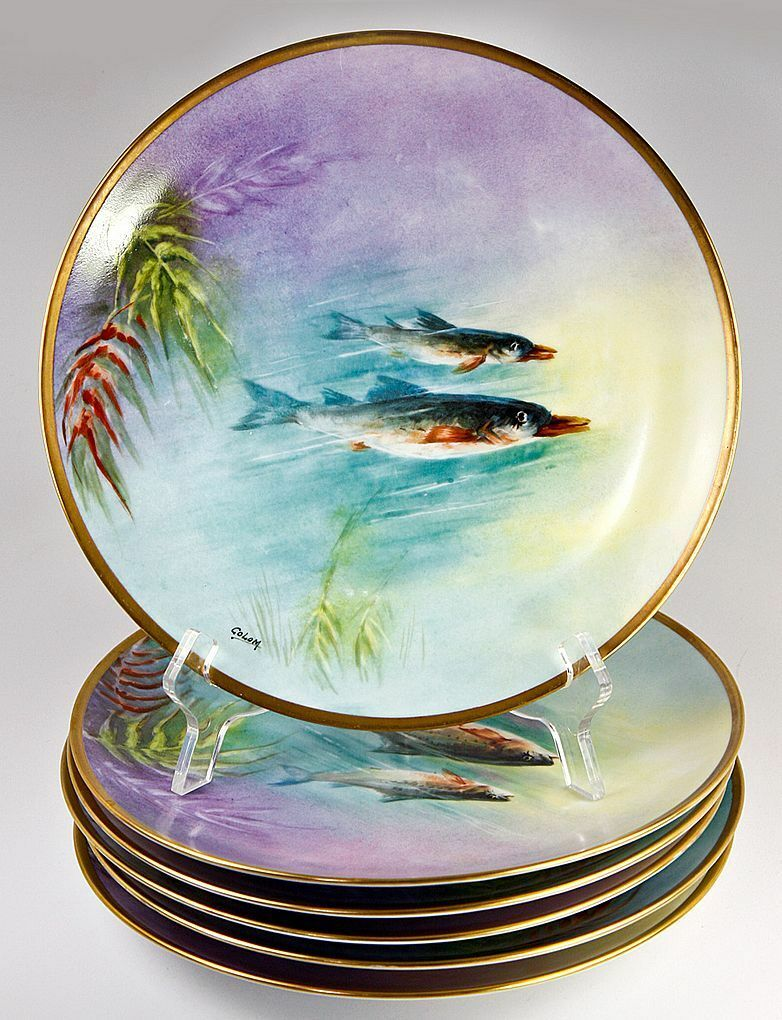 6pc Antique Hand Painted Ballery LIMOGES Fish Plates with Matching Sauce Boat