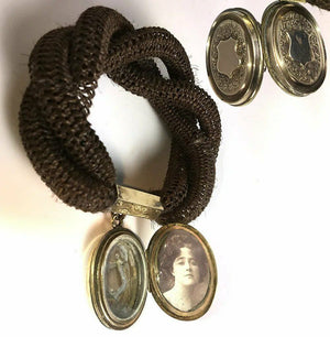 RARE Antique Victorian Mourning Bracelet, Woven Hair with Double Locket, VGC
