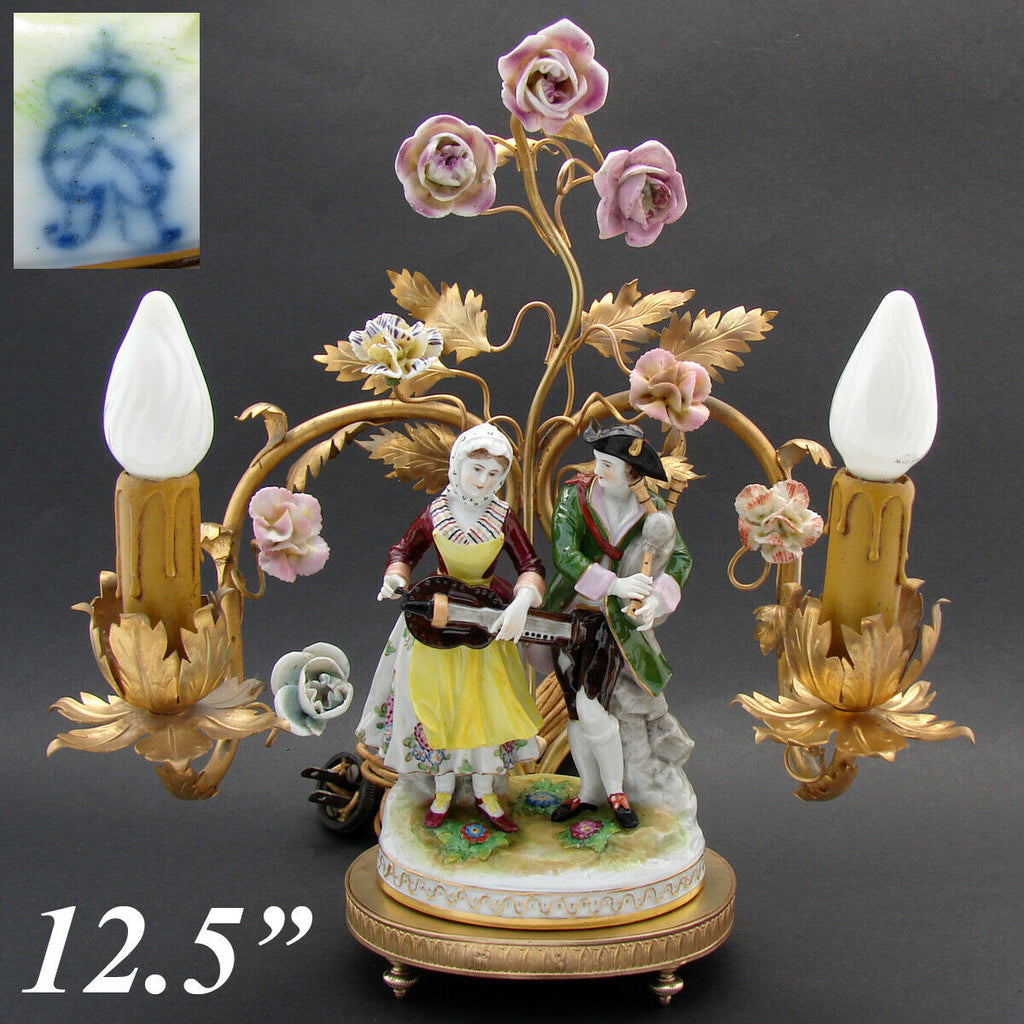 Antique Gilt Bronze 2-Branch Boudoir Lamp, Porcelain Flowers & Dresden Figures