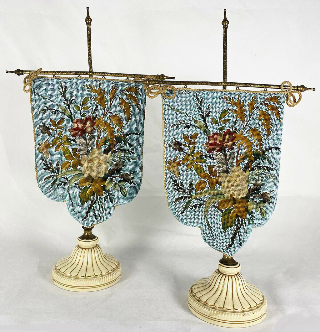 Fab Antique Victorian Glass Beadwork Face Screen Pair, on Stands, Porcelain Base