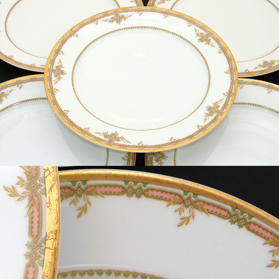 "Fine Vintage Haviland Limoges Marked 5pc 9 3/4"" Plate Set, Pink, Foliage & Gold"