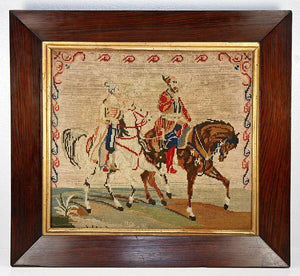 "Antique Victorian Needlepoint Tapestry, 16.5"" Rosewood Frame, Arabian Horses"