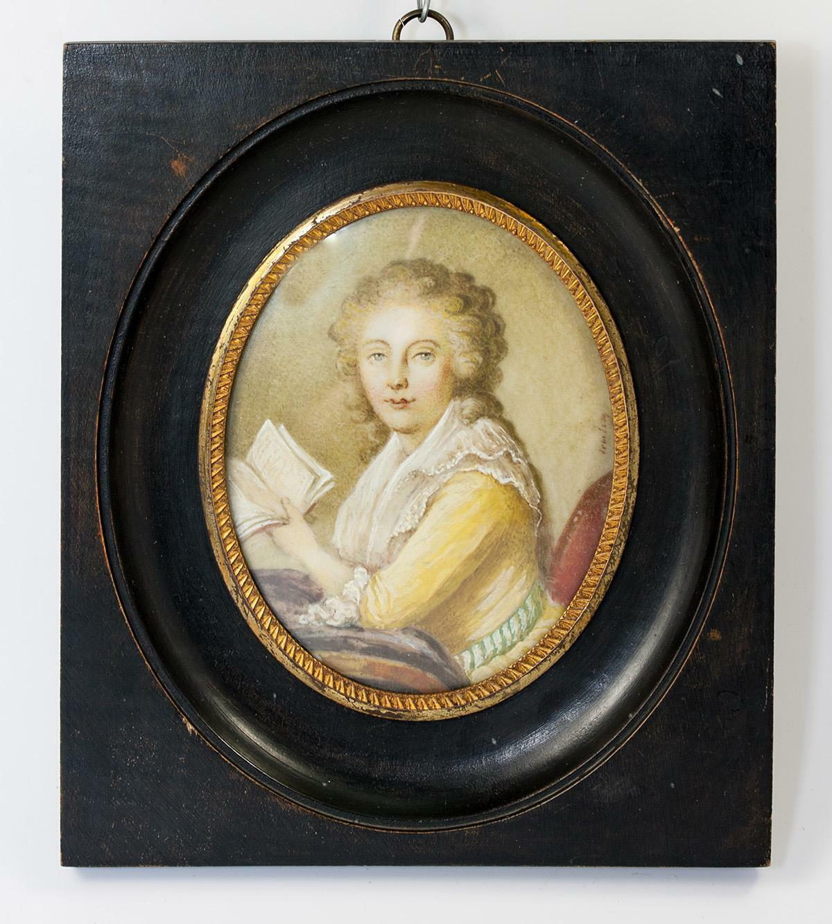 Antique French Hand Painted Portrait Miniature, Woman with Book, Mme Du Barry