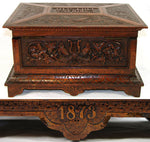Antique Victorian Carved Jewelry, Sewing Box, Chest, Ornate Figural, Dated 1873