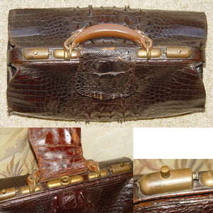 "Antique Victorian 16.5"" Alligator Satchel, LG Hornback Scales, Doctor's Bag?"