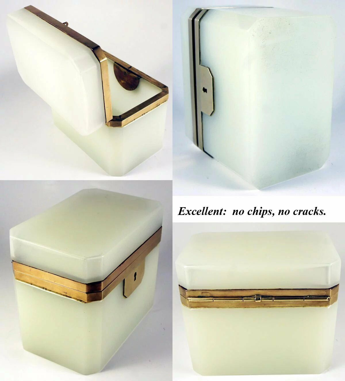 Antique French Opaline Sugar Casket, Box, Jewelry Chest, Napoleon III Era, c1850