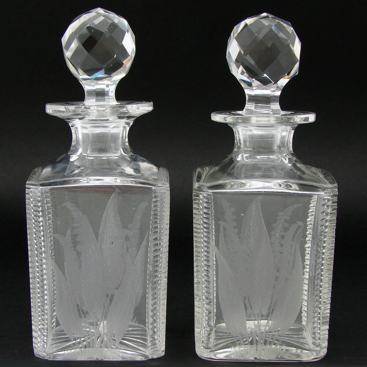 "Antique Wheel Cut & Intaglio Engraved Crystal 6 5/8"" Decanter Pair, ""B"" Monogram"