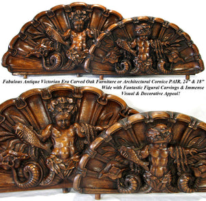RARE Antique Victorian Carved Oak Cornice, Fonton PAIR, Grotesque Figures, Shell