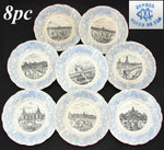 "FAB 8p Antique Antique World Expo 8"" Cabinet Plate Set, Paris 1900, Terre de Fer"