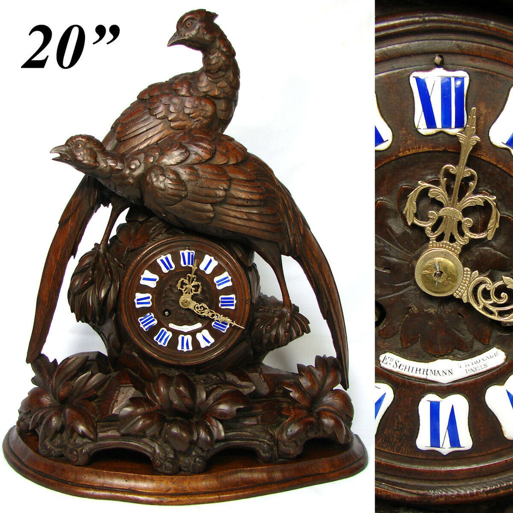 "Antique Black Forest Carved 20"" Mantel Clock, HUGE Hunt Style Game Birds"