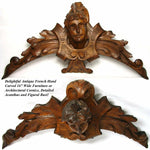 "Antique French Carved Walnut 16"" Furniture Architectural Cornice, Figural Bust"