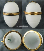 "Antique French Napoleon III Era White Opaline Glass ""Egg"" Casket, Box or Etui"